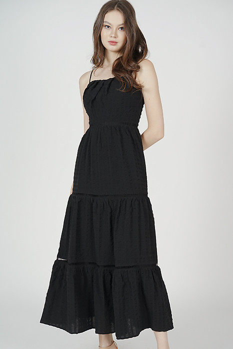 Niki Gathered Dress in Black - Arriving Soon