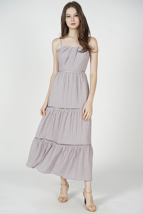 Niki Gathered Dress in Grey - Arriving Soon