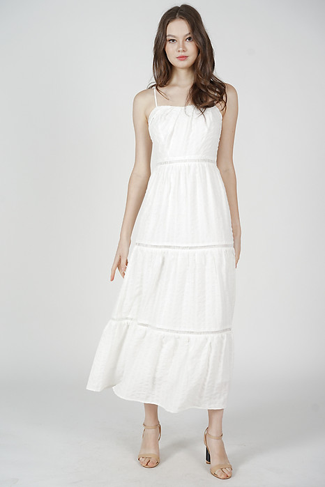 Niki Gathered Dress in White - Arriving Soon