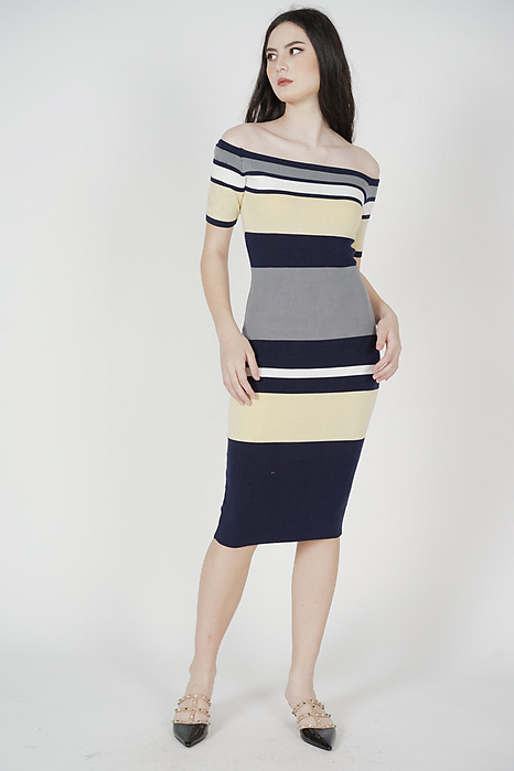 Alla Contrast Dress in Yellow - Arriving Soon