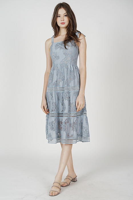 Balta Lace Dress in Ash Blue - Arriving Soon