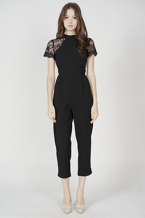 Quinby Lace Jumpsuit in Black - Arriving Soon