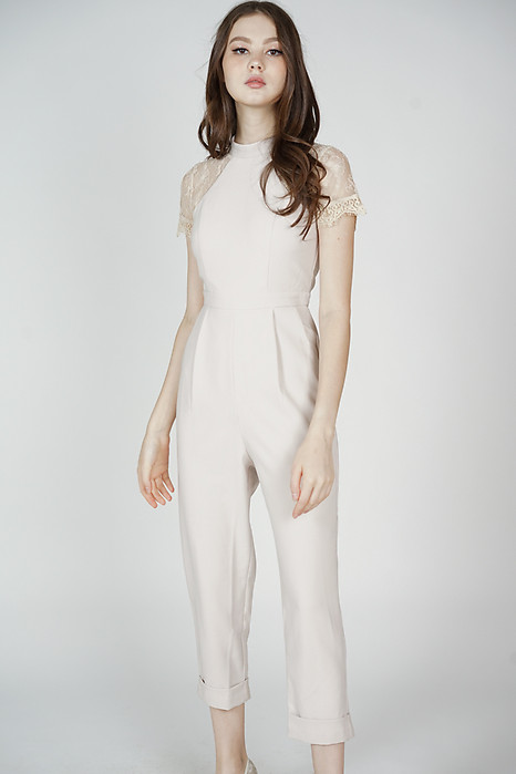 Quinby Lace Jumpsuit in Nude - Arriving Soon