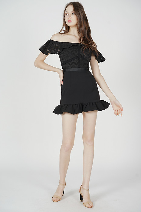 Ternia Lace Ruffled-Hem Skorts Romper in Black - Arriving Soon