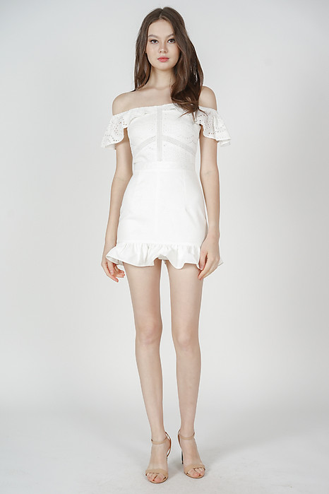 Ternia Lace Ruffled-Hem Skorts Romper in White - Arriving Soon
