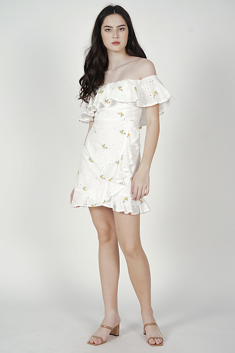 Shirley Eyelet Dress in Yellow Floral - Arriving Soon