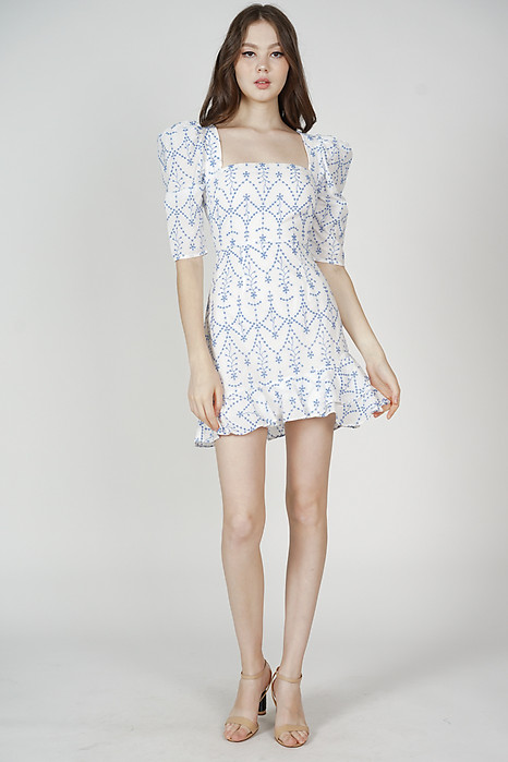 Vanora Eyelet Dress in White Blue - Arriving Soon