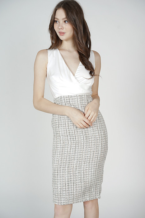 Persia Contrast Tweed Dress in White - Arriving Soon