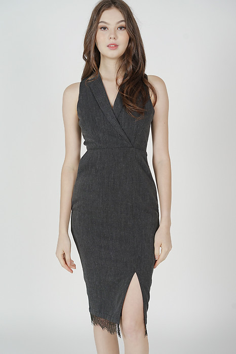 Rydel Lapel Dress in Dark Grey - Arriving Soon