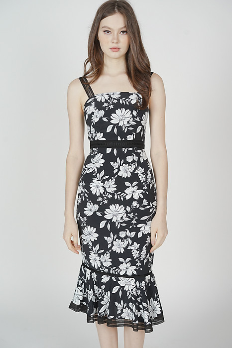 Welris Ruffled-Hem Dress in Black Floral - Arriving Soon