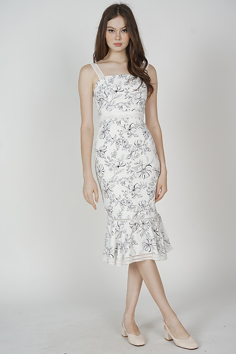 Welris Ruffled-Hem Dress in White Floral - Arriving Soon