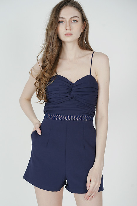 Lorgia Ruched Romper in Navy - Arriving Soon