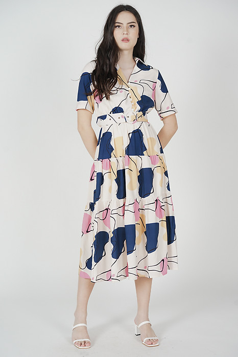 Ardene Gathered Dress in White Abstract - Arriving Soon