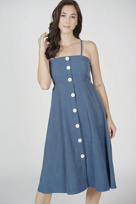 Walden Buttoned Dress in Blue - Online Exclusive