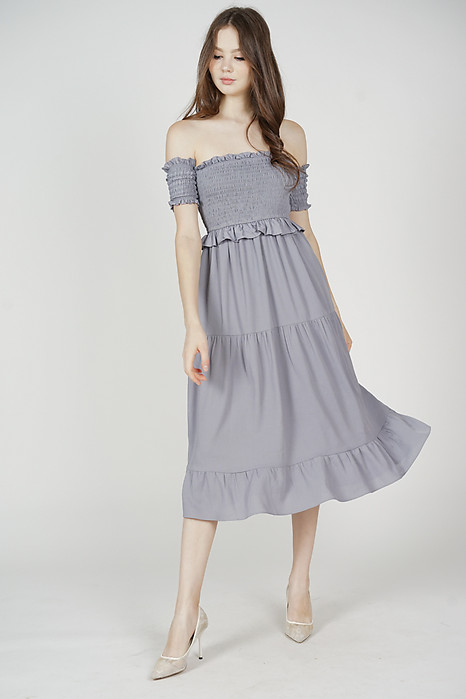 Caldrin Smocked Dress in Grey - Arriving Soon