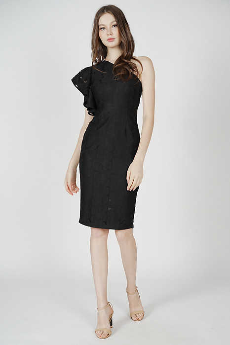 Circe Toga Ruffled Dress in Black - Arriving Soon