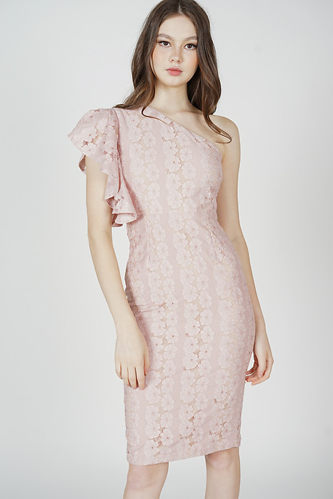 Circe Toga Ruffled Dress in Pink - Arriving Soon