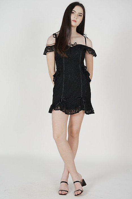 Delila Ruffled Lace Dress in Black - Arriving Soon