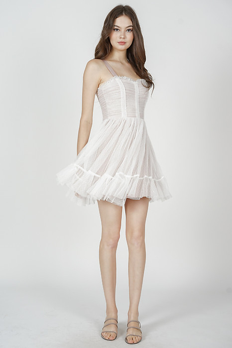 Diara Tulle Dress in White - Arriving Soon