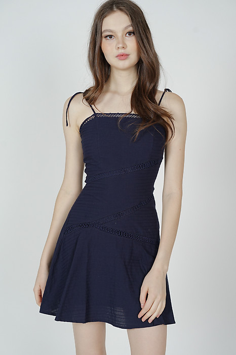 Vernette Crochet-Trimmed Dress in Midnight - Arriving Soon