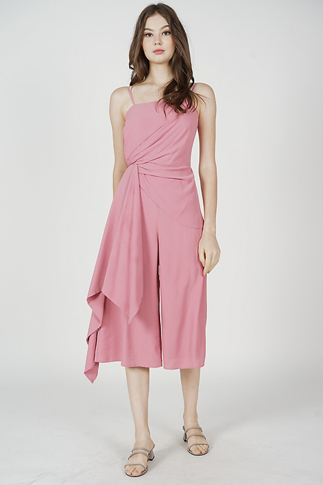 Nathan Side Ruffled Jumpsuit in Pink - Arriving Soon