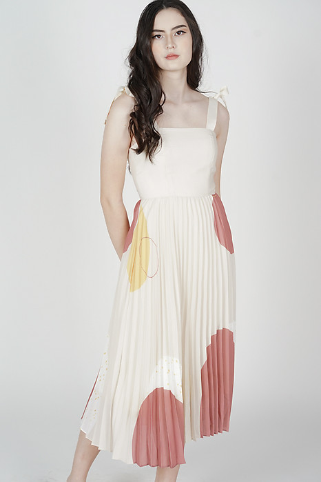 Keon Pleated Dress in Cream - Arriving Soon