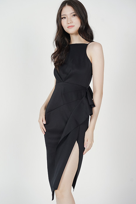 Areta Ruffled Dress in Black - Arriving Soon