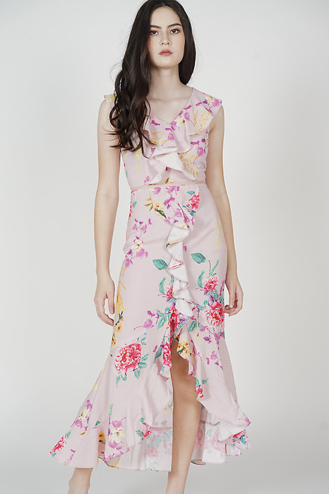 Hafez Ruffled Dress in Pink Floral - Arriving Soon