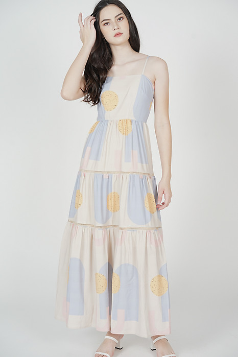 Edolie Abstract Gathered Dress in Ash Blue