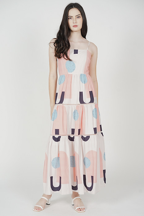 Edolie Abstract Gathered Dress in Pink - Arriving Soon