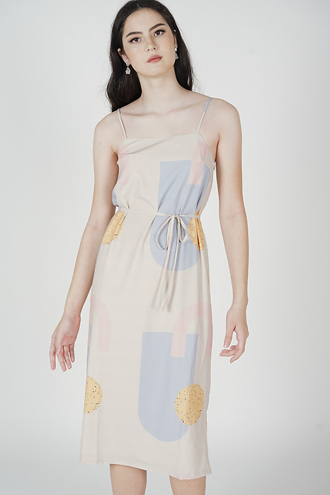 Jolen Abstract Dress in Ash Blue - Arriving Soon