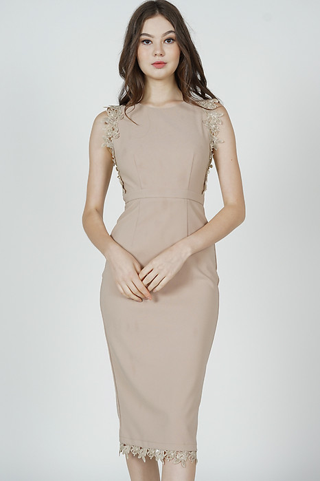 Galton Crochet-Trimmed Dress in Nude - Arriving Soon