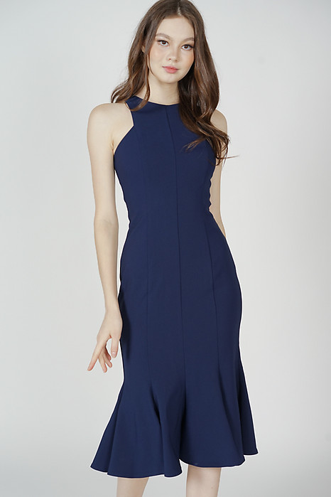Letty Ruffled-Hem Dress in Navy - Arriving Soon