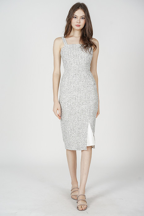 Janalyn Tweed Dress in Light Grey - Arriving Soon