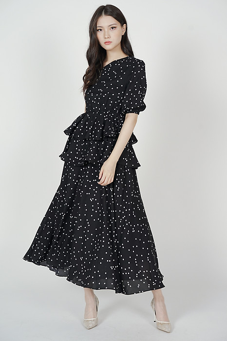 Colleen Toga Ruffled Dress in Black Polka Dots - Arriving Soon