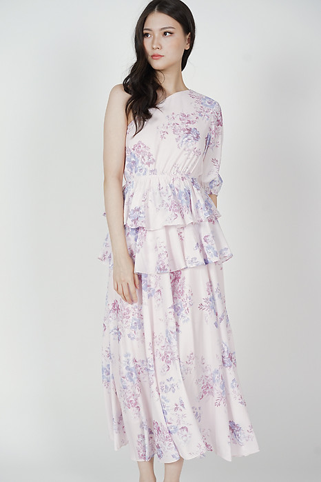 Colleen Toga Ruffled Dress in Lavender Floral - Arriving Soon