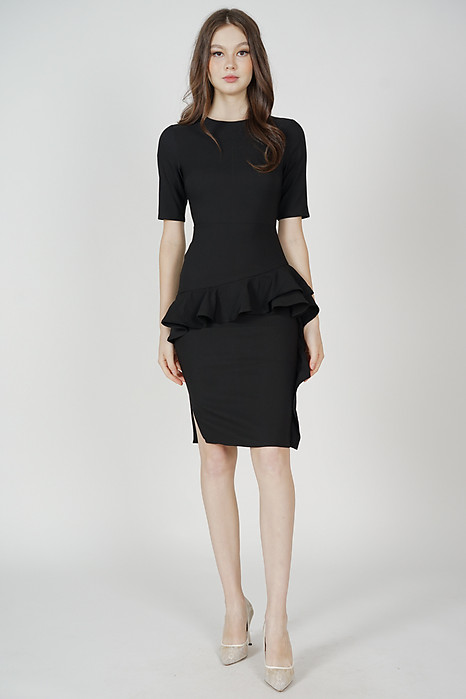 Kirvan Ruffled Dress in Black - Arriving Soon