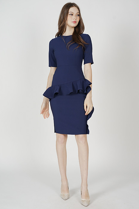 Kirvan Ruffled Dress in Navy - Arriving Soon