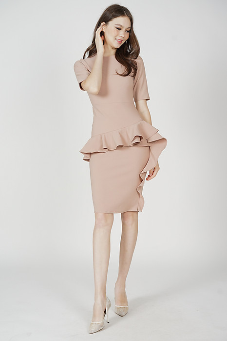 Kirvan Ruffled Dress in Nude - Arriving Soon