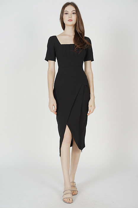 Inez Square-Neck Dress in Black - Arriving Soon