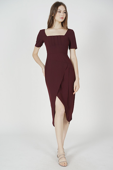 Inez Square-Neck Dress in Oxblood - Arriving Soon