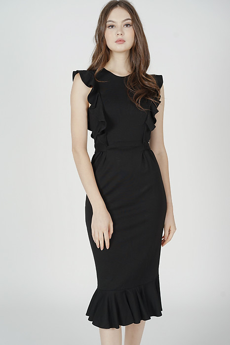Amalie Ruffled Dress in Black - Arriving Soon