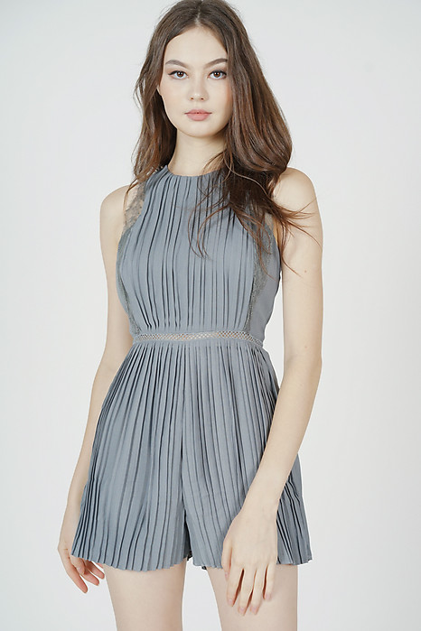 Kaydi Pleated Romper in Dusty Blue - Arriving Soon