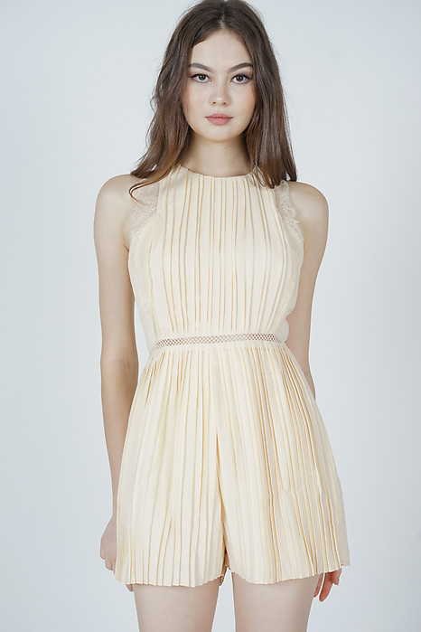 Kaydi Pleated Romper in Cream - Arriving Soon