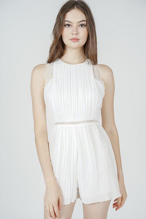 Kaydi Pleated Romper in White - Arriving Soon