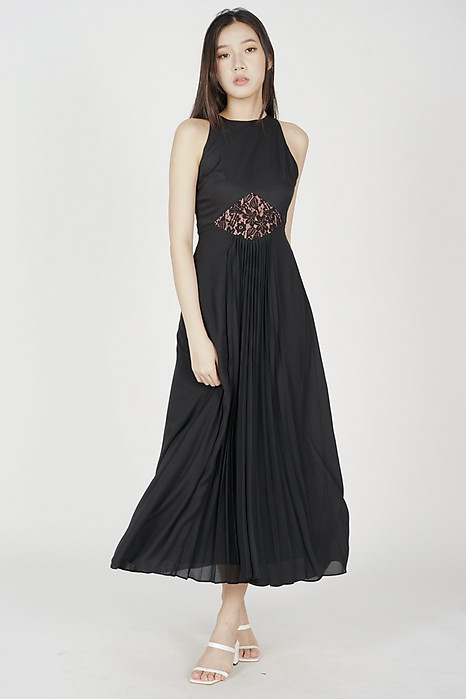 Skai Lace Pleated Dress in Black - Arriving Soon