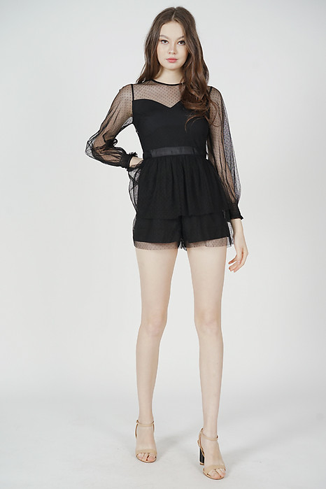 Michaela Gathered Romper in Black - Arriving Soon