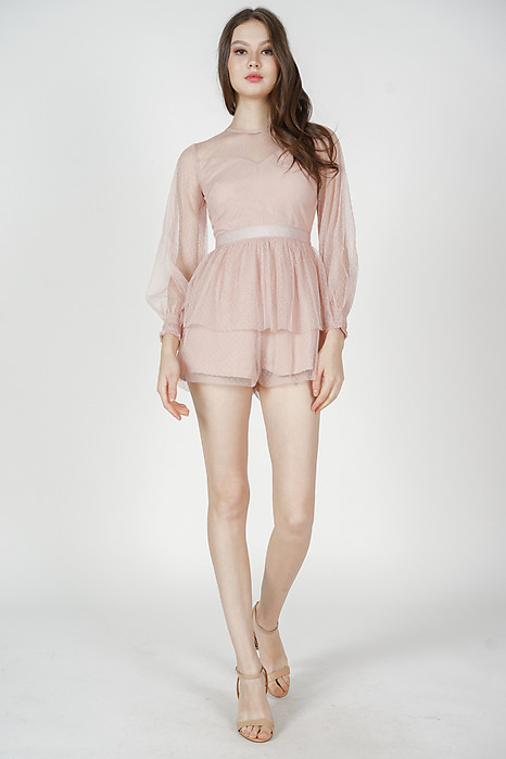 Michaela Gathered Romper in Pink - Arriving Soon