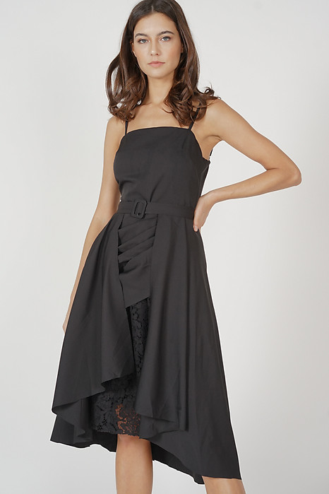 Gisela Overlay Dress in Black - Arriving Soon