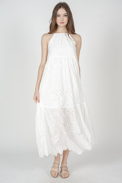 Zalika Eyelet Dress in White - Arriving Soon